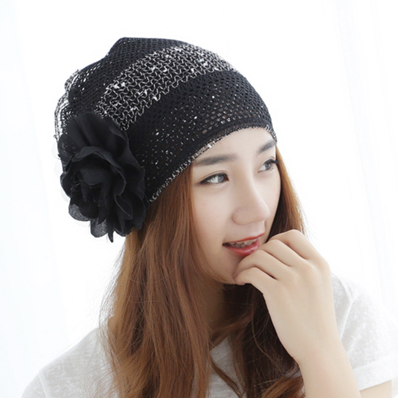 Beanie Direct Selling Polyester Wool 2016 Fashion New Woman Korean Ventilation Flowers Lace Head Cap Confinement Heap Hat Adult 2017 special offer limited polyester adult beanie korean warm fold hip hop head cap casual knitting hat wool winter heap hats