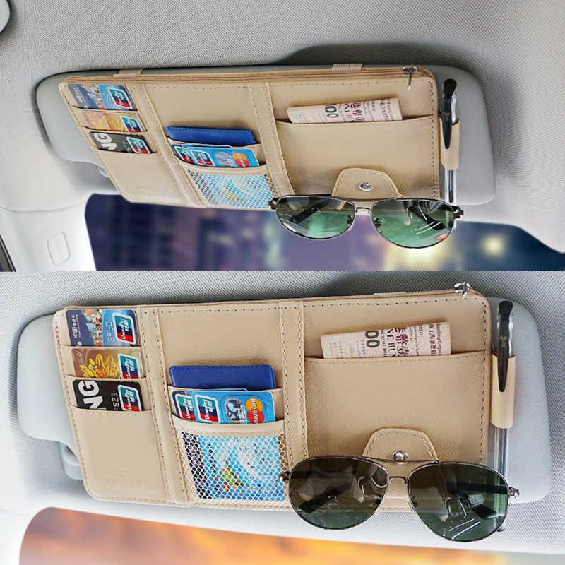 Автомобильный органайзер, солнцезащитный козырек, авто сумка для хранения, из искусственной кожи, Солнцезащитная сумка, для карт, стеклянная ручка, зажим, держатель для денег, накладка, аксессуары для интерьера, новинка