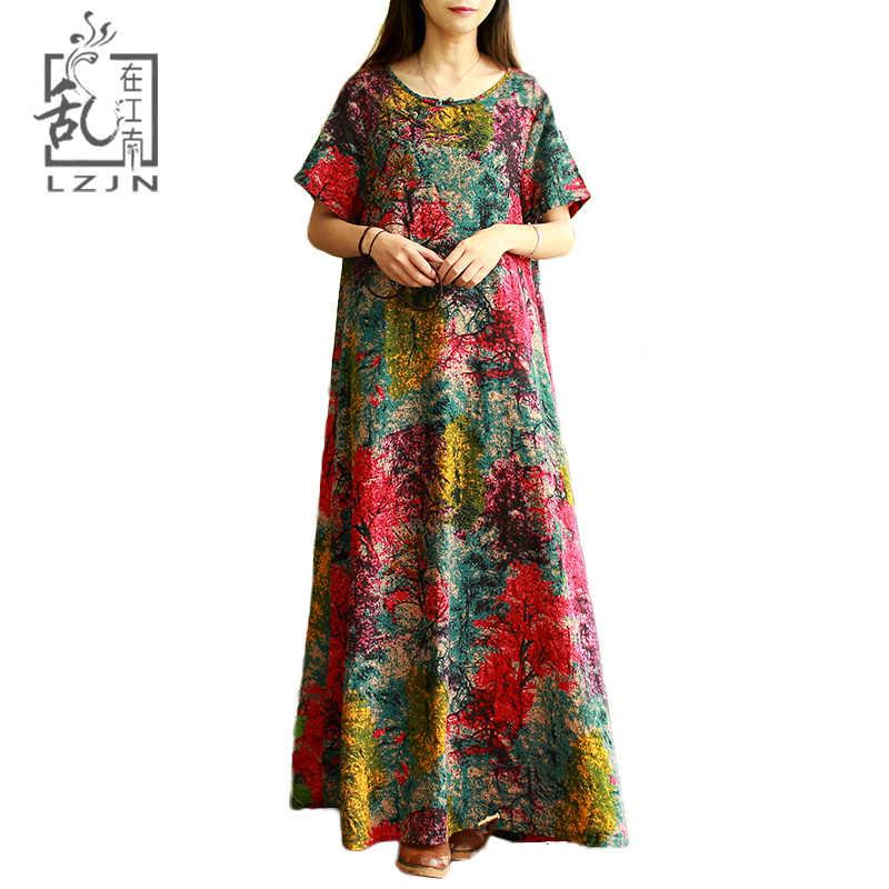 LZJN Original 2018 Summer Women s Maxi Dress Short Sleeve Vintage Tree  Print Robe Cotton Ethnic Long 8e40dbce5a8b