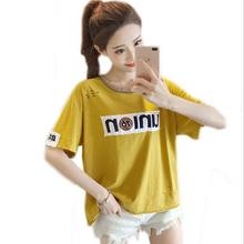 Fashion Hole Print female T-shirt 2017 New Summer casual beach plus size Tops Tees O-Neck Short sleeves T shirts for women
