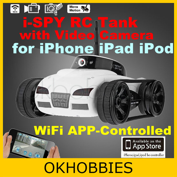 Crazy Sale Toys RC Vehicle Car! New White Cool Wifi APP-Controlled i-Spy iSpy iPhone Rover Tank Video Camera for New iPad/iTouch