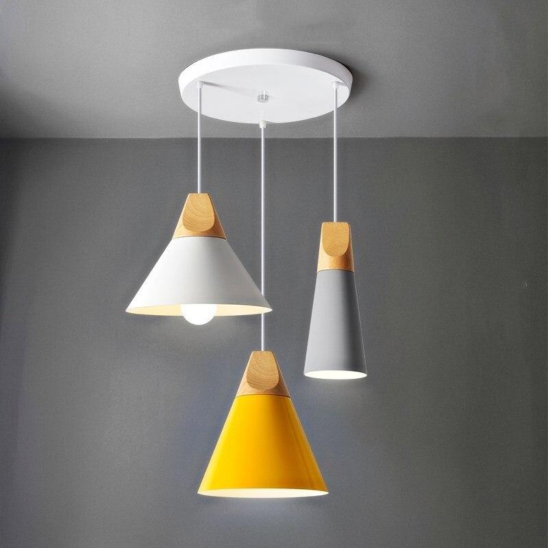 Modern Pendant Light Aluminum Wooden Pendant Lamp Living Dinning Room Kitchen Fixture Hanglamp Luminaire Lighting  Nordic Lamp