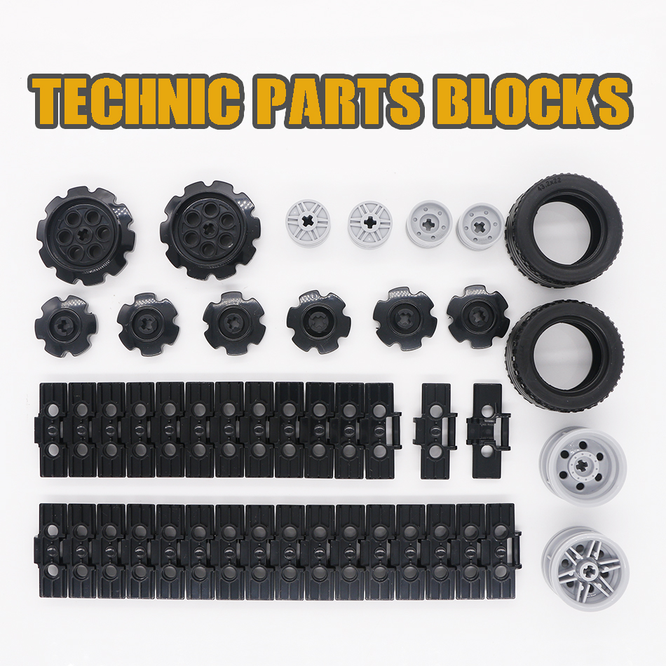LegoINGlys Technic Parts Wheel Building Blocks Tank Caterpillar Track Link Car Tyre Chain Truck Excavator Compatible Bricks Toys