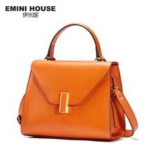 EMINI HOUSE Simple Style Handbag Split Leather Women Messenger Bags Luxury Handbags Women Bags Designer Fashion Shoulder Bag