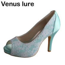 ФОТО mint green shoes women heels for wedding peep toe platform bridesmaid shoes