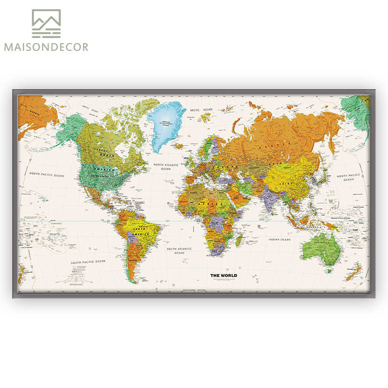 Detail Feedback Questions about Big Size Modern HD Prints World Map ...