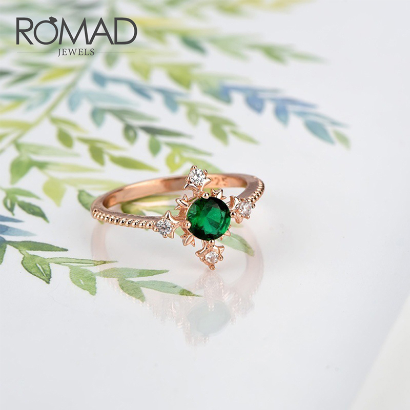Romad Simple Exquisite Green Crystals Zircon Wedding Rings For Women Aaa Cutting Engagement Rings Female Jewelry Gift R4 Demand Exceeding Supply