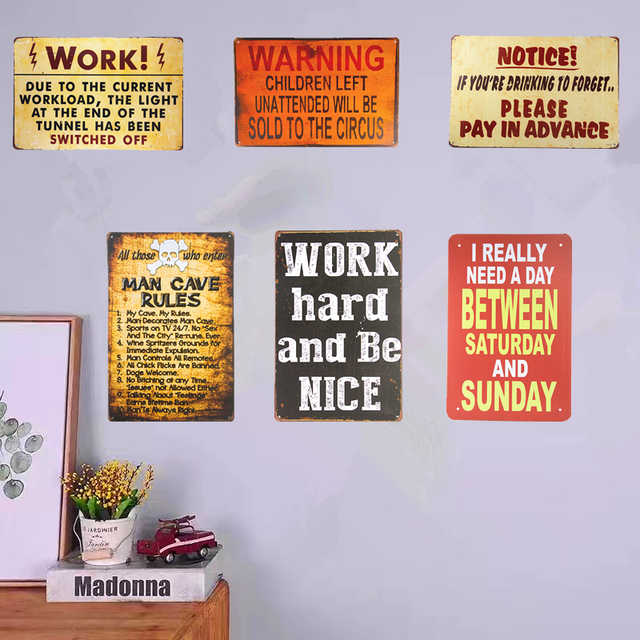 Amazing Vintage Metal Tin Signs Warning Posters Home Restaurant Coffee Cafe Decor  Wall Plaques Wall Stickers Decor