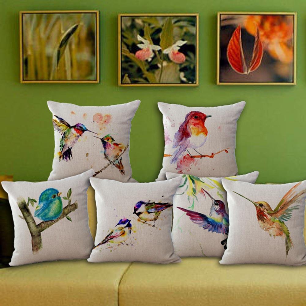 45x45cm Birds Printed Cushion Cover Animal Series Home Sofa Decorative Pillowcase Office Car Chair Seat Throw Pillow Cover