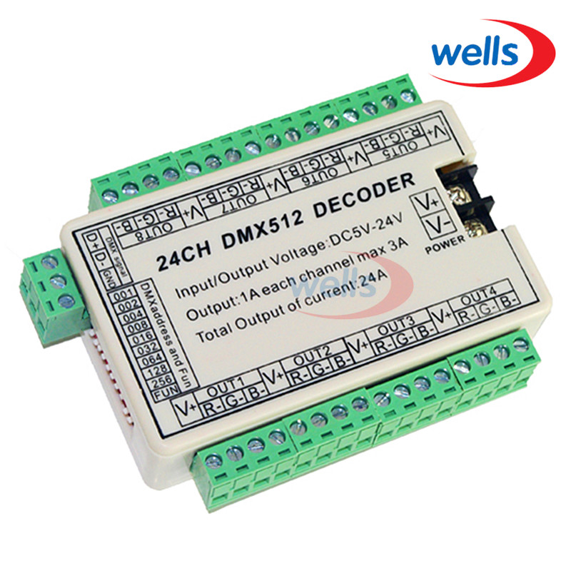 LED DMX512 DC5V-24V decoder 24CH Controller, elke CH Max 3A, 8 groepen RGB controller dmx512 digital display 24ch dmx address controller dc5v 24v each ch max 3a 8 groups rgb controller