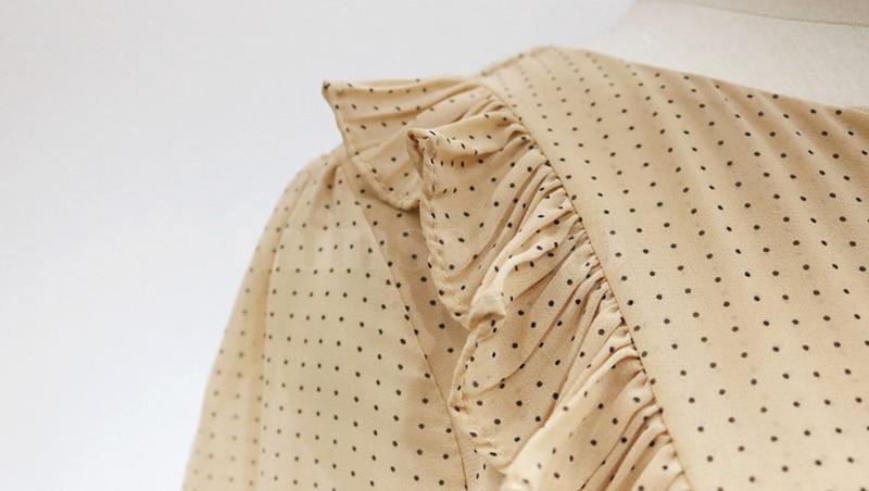 BGTEEVER Vintage O-neck Ruffles Chiffon Women Dress Flare Sleeve Polka Dot Lace Up Female Dress Two Layers Pleated Vestidos 26