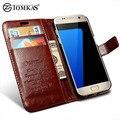 Флип Кожаный Чехол Для Samsung Galaxy S7 G9300 Телефон Сумка-Кошелек обложка Для Samsung Galaxy S7 Edge Случаи С Держателей Карт TOMKAS