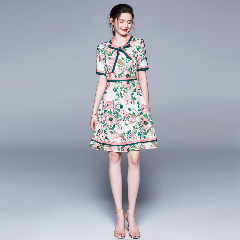 2019 Summer Women Elegant Vintage Retro Wheat Flower Floral Print Swagger Dress Ruffles Trim Bow Tie Neck vestidos robe femme