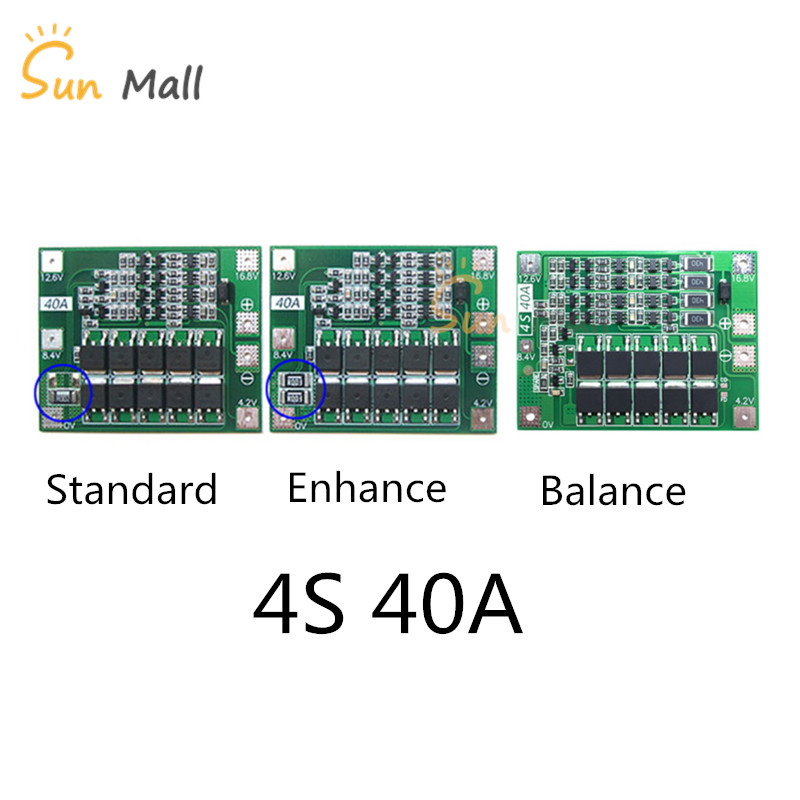 4S 40A Li-ion Lithium Battery Protection Board 18650 Charger PCB BMS For Drill Motor 14.8V 16.8V standard/Enhance/Balance 3s 20a li ion lithium battery 18650 charger pcb bms protection board for drill motor 12 6v lipo cell module 64x20x3 4mm