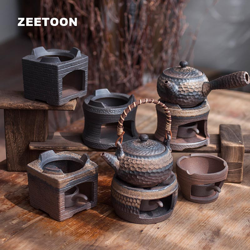 Vintage Warm Tea Stove Ceramic Coarse Pottery Warmer Candle Heater Heating Teaware Accessories Teapot Base Holder Night Lights