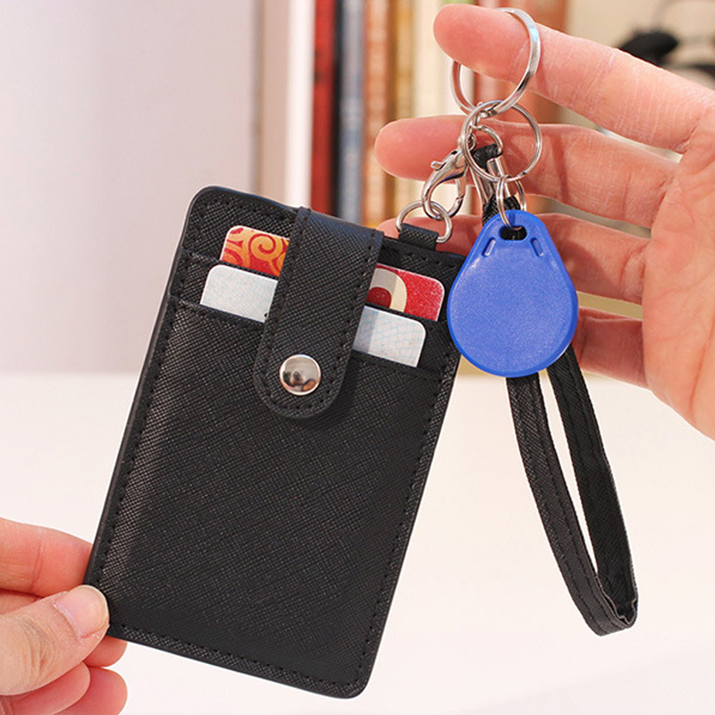 Id-Card-Holder Keychain Bank Card-Protection Office-Supplies Identity Candy-Color Portable