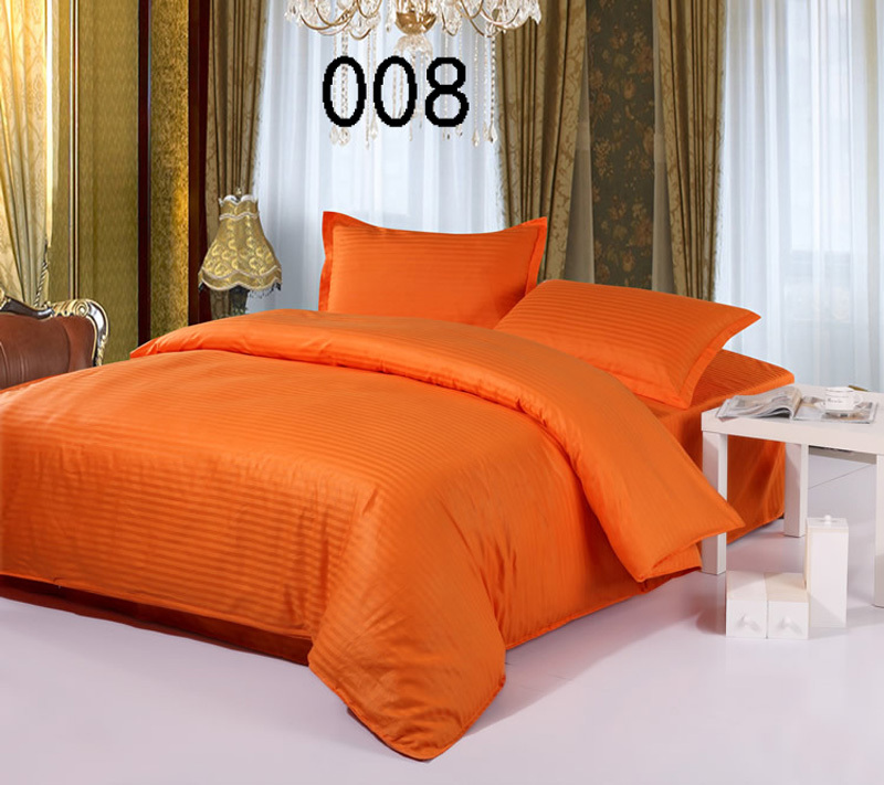 Orange Cotton Satin Stripe 4pcs Bedding Sets Home