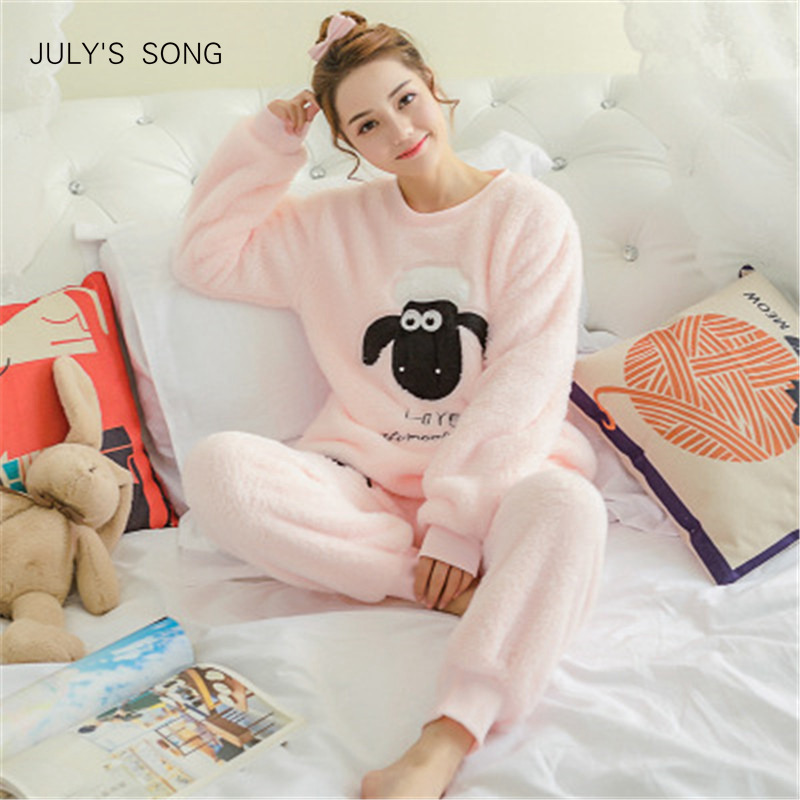 JULY'S SONG Women Pajama Sets 2019 Autumn Winter Pajamas Flannel Cartoon Thick Warm Women Sleepwear Cute Animal Female Homewear(China)