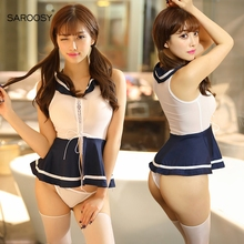 SAROOSY Sexy Student Costumes for Women Exotic Varsity Uniform Dress Lingerie School Cosplay Halloween Costume Tie Detail цена 2017