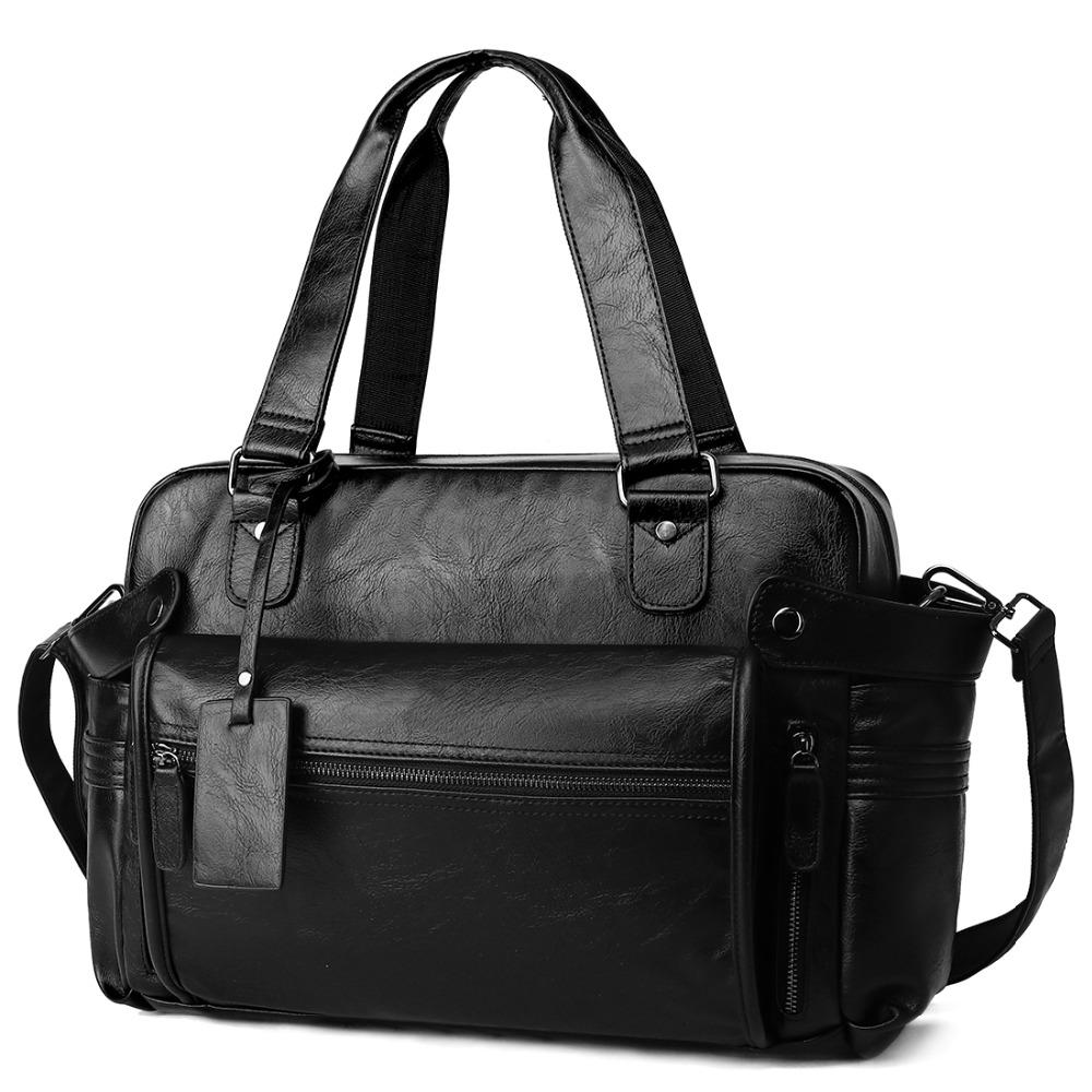 Leather Men's Travel Bags Fit 10.5 Inch Ipad Hand Luggage Travel Duffle Bag Men's Black Weekend Bag