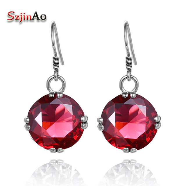 06773b5f2 Szjinao New Luxury Ruby Earrings 925 Sterling Silver Earrings Fashion  Handmade Vintage Design For Women Wholesale
