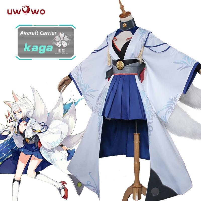 UWOWO Кага Азур Лейн Косплей Аниме Азур Лейн костюм Кага лисица кимоно Косплей Костюм для женщин