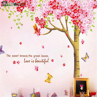 Large Size 258 * 250cm Three Fight To Remove Large Cherry Tree Wall Stickers Living Room Sofa Wall Stickers