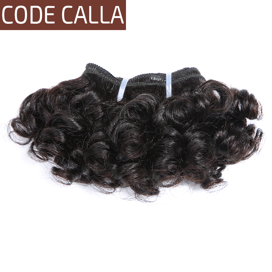 Code Calla Short-cut Human Hair Pre-Colored Raw Virgin Hair Bundles 3PCS 6 Inch Malaysian Kinky Curly Weave 6 PCS Can Make A Wig