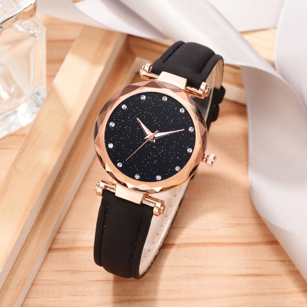 Top Watches Women Fashion Watch 2019 Pu Watch Strap Bracelet Femme Montre Starry Sky Dress Rhinestone Ladies Zegarek Damski
