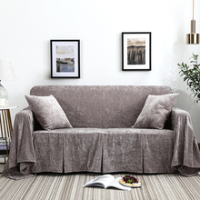 Nordic style gray color warm velvet slipcover single double three seat sofacover sofa towel soft All inclusive cushion