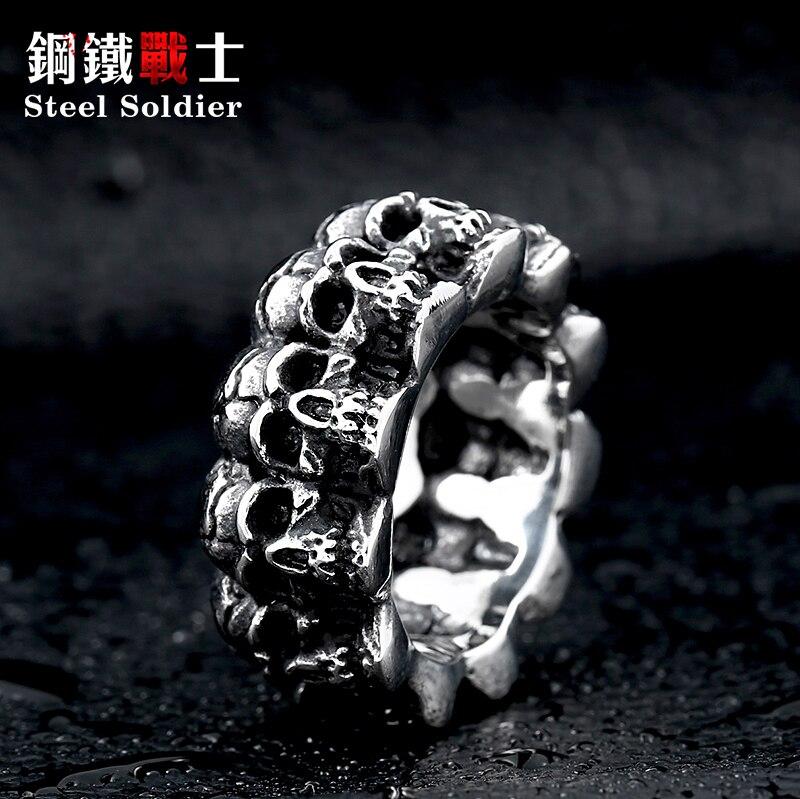 Anel de aço inoxidável do soldado, punk, caveira, dominando, vintage, crânio, joias de aço 316l