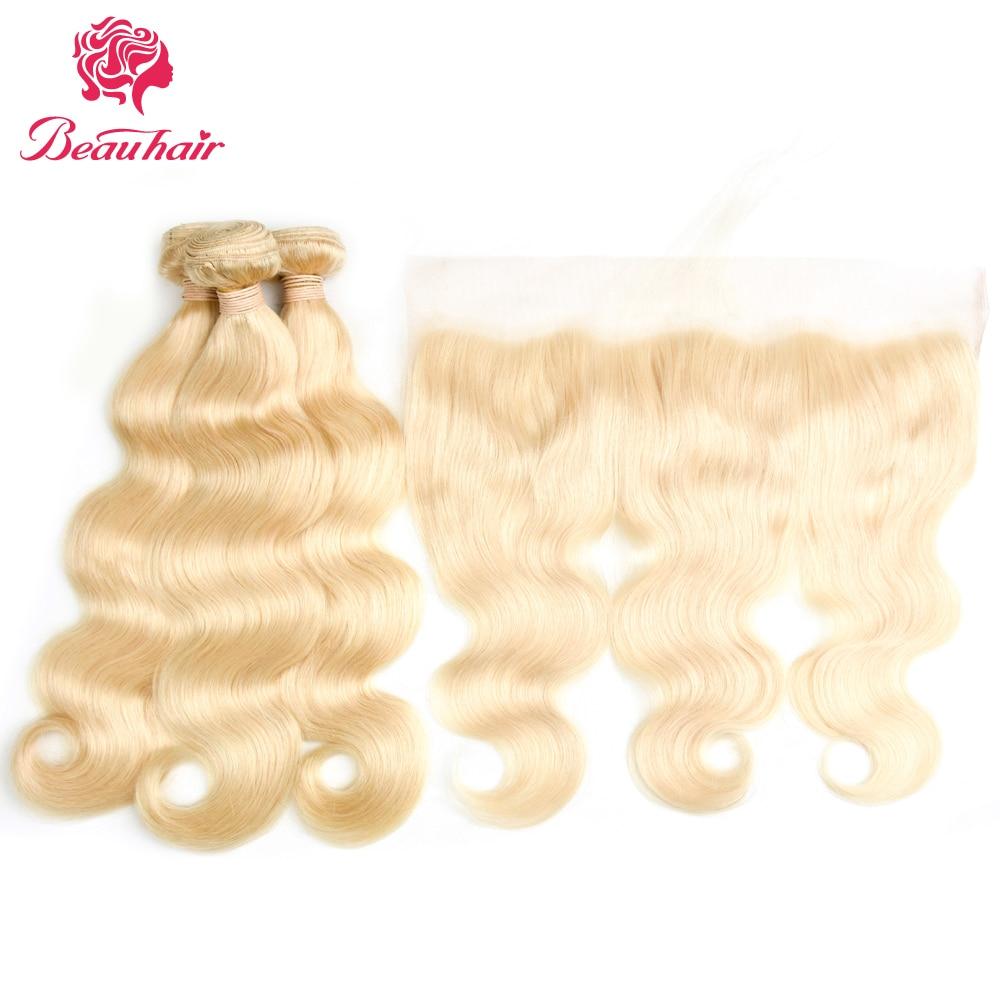Beau волос бразильский Человеческие волосы #613 блондинка Цвет Малайзии Средства ухода за кожей волна утки волос 4 Связки с 13*4 Синтетический ...