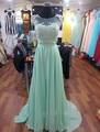 2017 Mint Green Chiffon Scoop Lace Cap Sleeve Beaded Bridesmaid Dresses Plus Size Summer Wedding Party Dress vestidos de festa