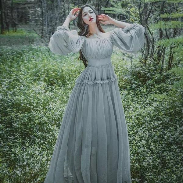 2018 Women light gray seashore vintage fairy long maxi dress medieval dress Renaissance Gown princess Victorian