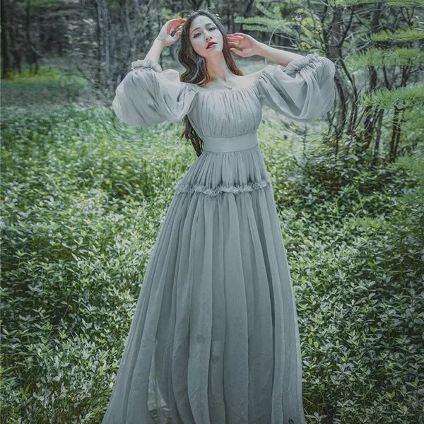 51a74469420 2018 Women light gray seashore vintage fairy long maxi dress medieval dress  Renaissance Gown princess Victorian dress