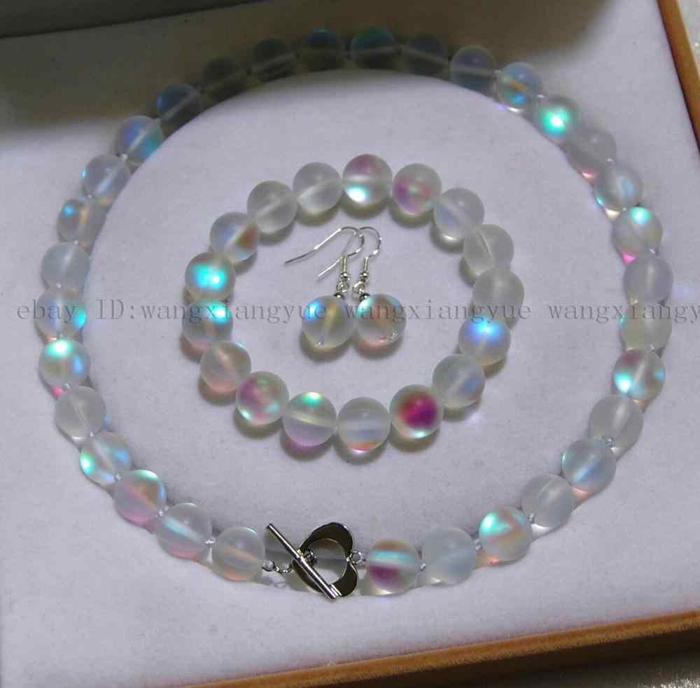 8 มม.สีขาว Gleamy Rainbow Moonstone รอบลูกปัดสร้อยคอ + สร้อยข้อมือ + ต่างหูชุดเครื่องประดับ