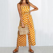 Strap Floral Printed Jumpsuit Women Casual Beach Party Yellow Rompers 2018 Summer  Sexy Off Shoulder Sash 0ab76e9e1469