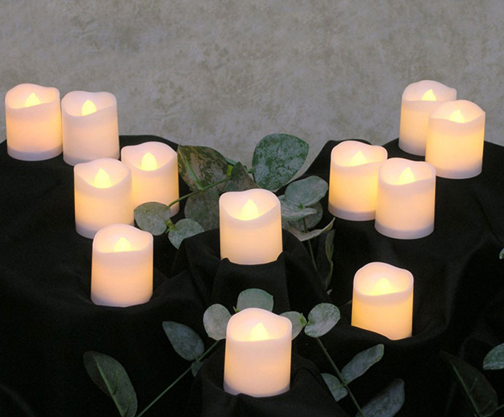 12pcs Flameless LED Candle Flicker Light Lamp Decoration Electric Battery-powered Candles Yellow Tea Light Party Wedding Candle 6