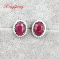 925 sterling silver with 100% natural ruby earrings female red fine jewelry