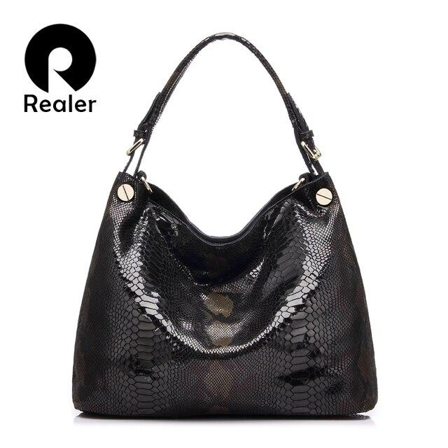 REALER модная женская сумка из натуральной кожи, дамская тисненая сумочка мессенджер Дизайнерская сумка