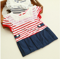 2016 summer short sleeve striped baby girls dress baby dress newborn girls party birthday kids clothes vestidos infantis 2 color