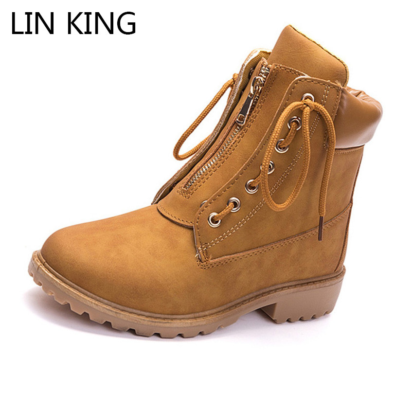 3d768a592caf LIN KING Retro Lace Up Women Boots Square Heel Short Boots Ladies Martin  Boots Soild Platform Ankle Shoes Punk Work Safety Botas