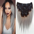120g Gray Straight Clip In Hair Extensions Human Virgin Brazilian Hair Slove Rosa Products Extensions Ombre Color Clip In Hair