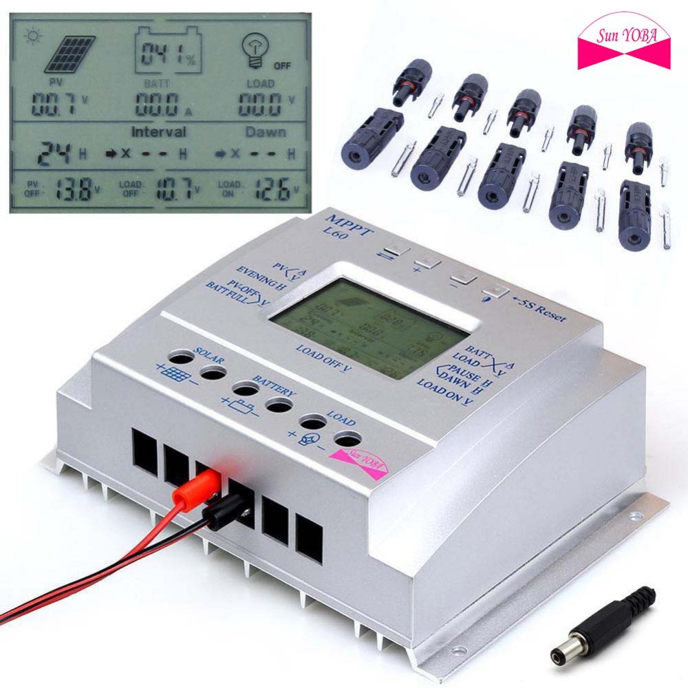 Intelligent 60A MPPT Solar Panel Regulator Charge Controller Auto Switch 12V/24V 750W/1500W & LCD USB+5 pairs MC4 Connector