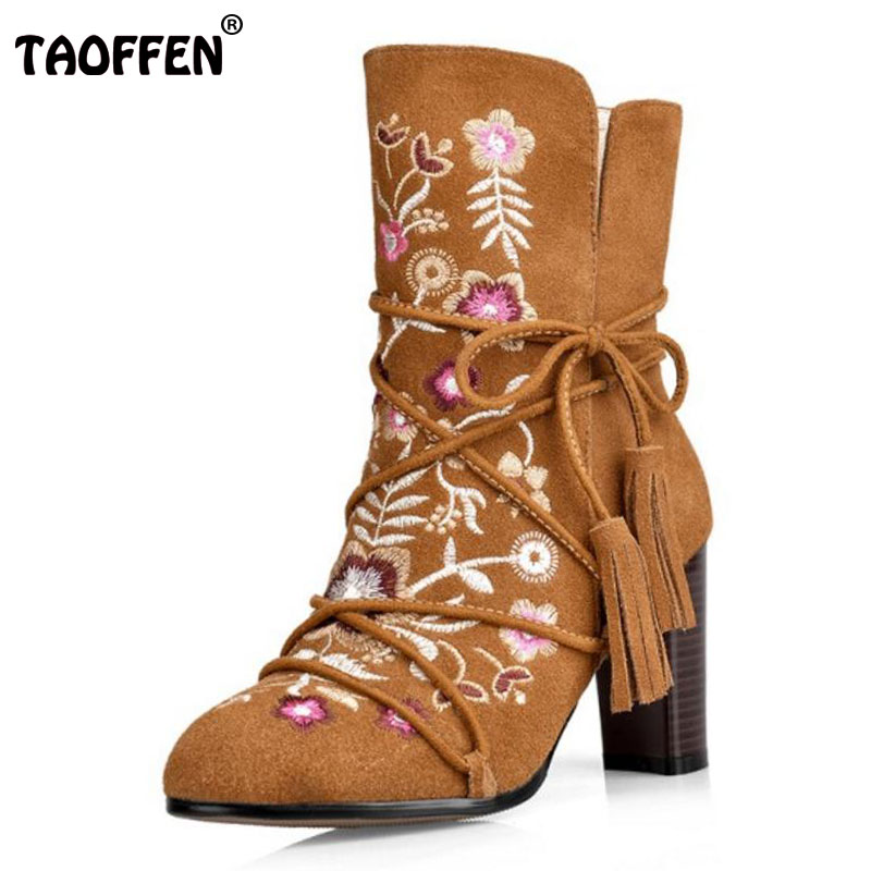 TAOFFEN Size 34-43 Women Genuine Leather High Heel Boots Women Tassel Cross Strap Short Boots Winter Shoes For Woman Footwears wisted x boots cowboy boots only size 11 left eur size 42 knight boots tassel short boots