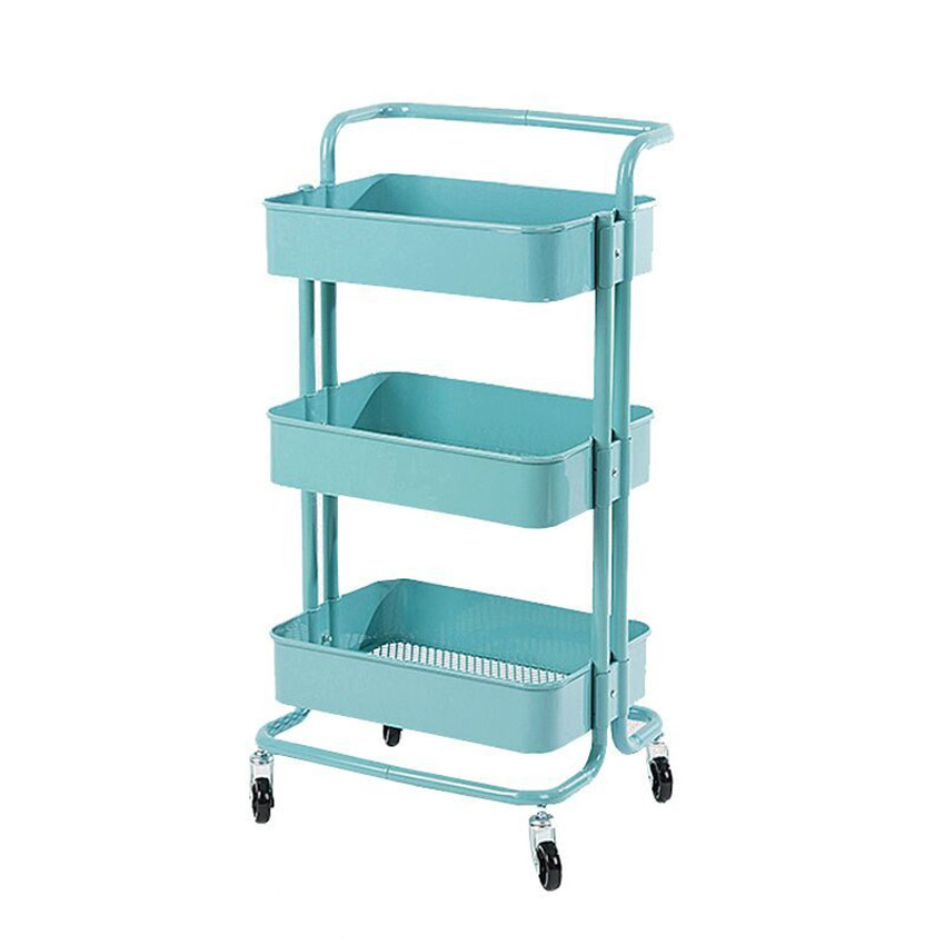Fashion Creative 3 Tiers Carbon Steel Household Living Room Storage Rack Stroller Rolling Trolley Kitchen Organizer With 4 Wheel