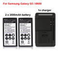 For Samsung Galaxy S5 Battery 2x 3500mAh Phone Replacement Batterie Portable Mini Backup With USB Wall Charger For Samsung i9600
