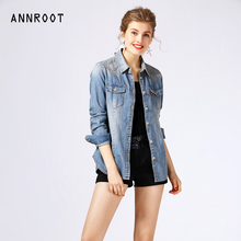 ANNROOT women shirt 2017 spring new long-sleeved cardigan casual shirts for women denim clothing female Free Shipping AGD0718