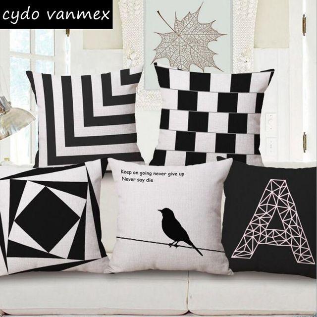Geométrica moderna funda de cojín blanco y negro sofá cama silla