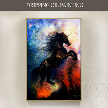 Top Artist Hand-painted High Quality Black Unicorn Oil Painting on Canvas High Quality Unique Horse Black Unicorn Oil Painting